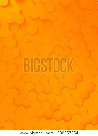 3d illustration of a orange hexagon background