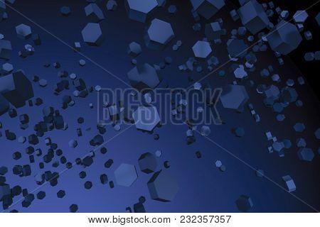 3d illustration of a dark blue hexagon background