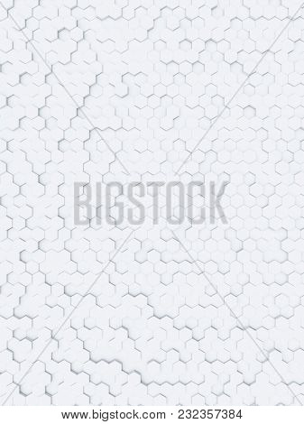 3d illustration of a white hexagon background