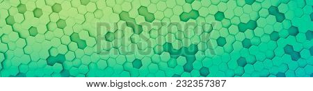 3d illustration of a green hexagon background