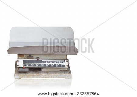 Front View Di Cut Antique Iron Scales On White Background,object,copy Space