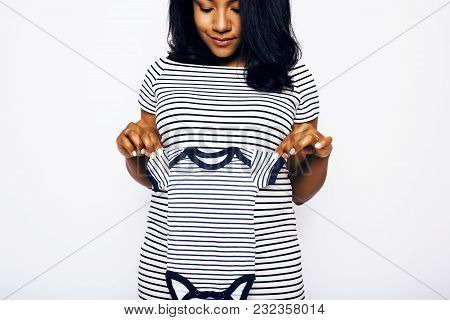 Young Pretty African American Woman Pregnant Happy Smiling, Posing On White Background Isolated , Li