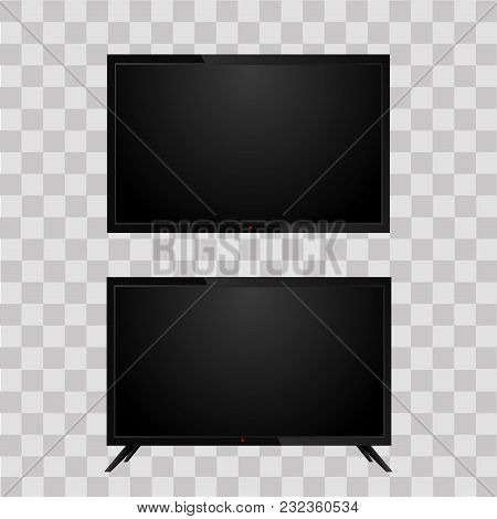Realistic Television Tv On Transparent Background. Vector