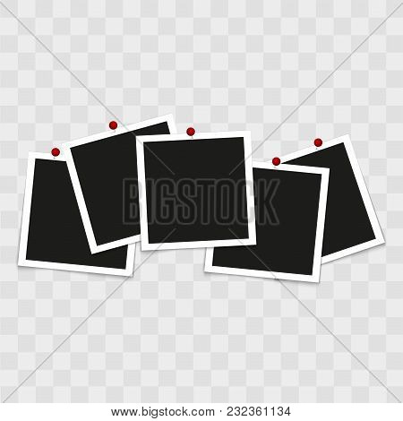 Set Of Vintage Photo Frames With Pins On Transparent Background. Vector