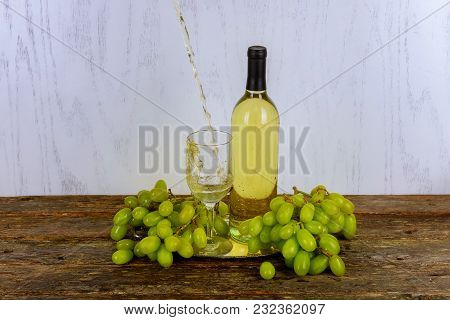White Wine And Grapes Wine And Grapes On Vintage Wooden Table Glass Of Wine And Grapes On Old Wooden