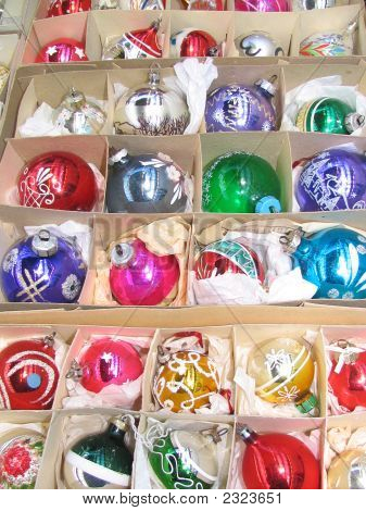 Karton Box Filled With Christmas Ornaments