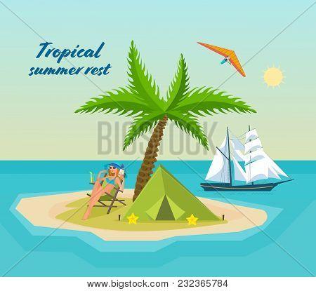 Girl In Bikini, Resting On Tropical Sea, Island With Bay, Palm Trees, An Exotic Beach. Drinking Cock