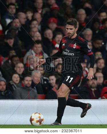 Fabio Borini of AC Milan during the Europa League match between Arsenal and AC Milan at The Emirates Stadium on March 15, 2018 in London, United Kingdom.
