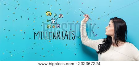 Millennials With Young Woman Holding A Pen On A Blue Background