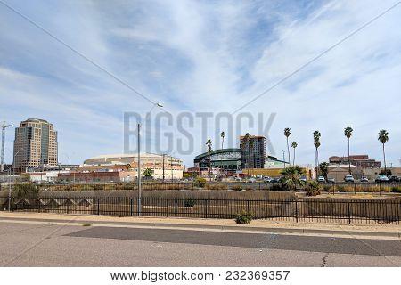 Phoenix, Az, Usa - March 16, 2018: Bank Of America Financial Center Tower, Talking Stick Resort Aren