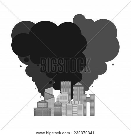 Exhaust Gases From City. Environmental Pollution. Factory And Poisonous Gas.  Death Of All Living Th