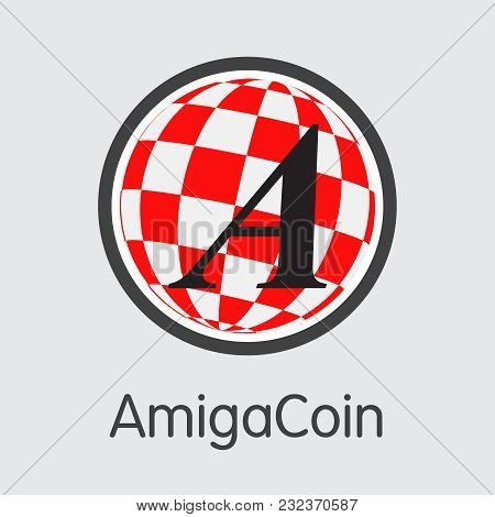 Amigacoin - Virtual Currency Concept. Colored Vector Icon Logo And Name Of Blockchain Cryptocurrency