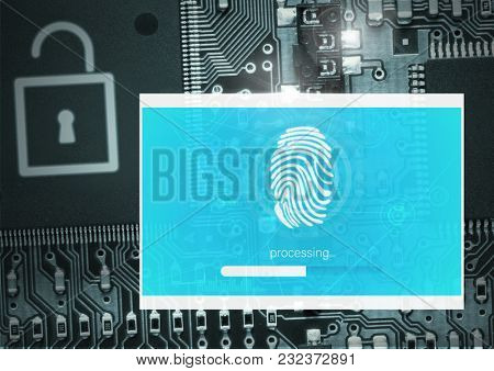 Digital composite of Identity Verify security fingerprint App Interface