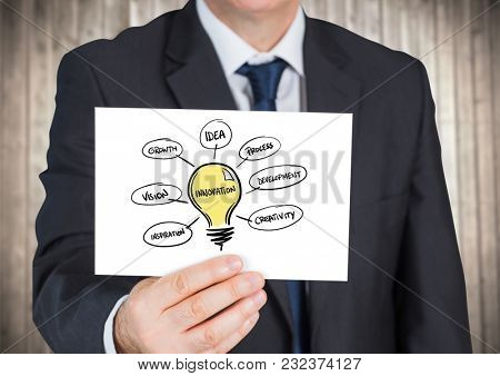 Digital composite of Business man with light bulb doodles on card against blurry wood panel