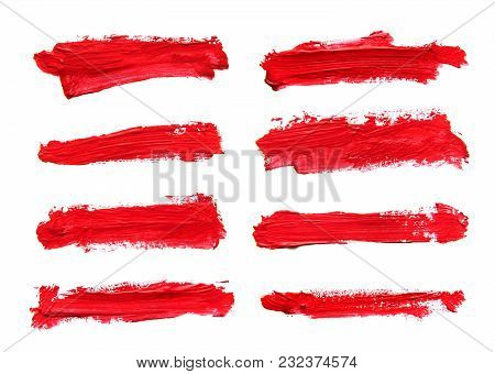Set Of Red Abstract Gouache Brush Strokes On A White Background