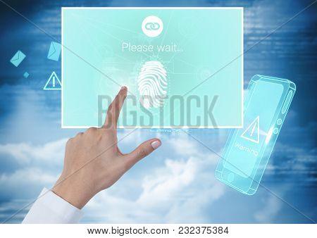 Digital composite of Hand Touching Identity Verify fingerprint mobile App Interface