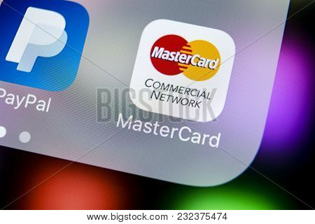 Sankt-petersburg, Russia, March 21, 2018: Mastercard Application Icon On Apple Iphone X Screen Close