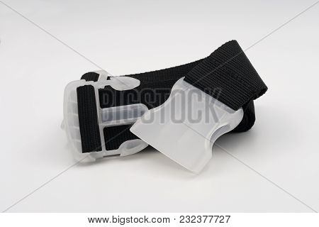 Strap For Luggage Of Black Color. Close-up On A White Background.