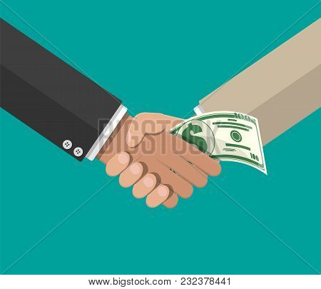 Hand Giving Money To Other Hand. Handshake. Hidden Wages, Salaries Black Payments, Tax Evasion, Brib