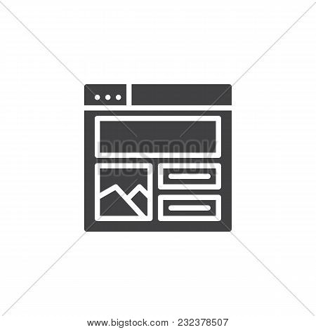 Web Browser With Content Design Vector Icon. Filled Flat Sign For Mobile Concept And Web Design. Web