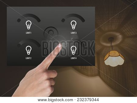 Digital composite of Hand touching a Lighting home App Interface