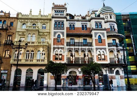 SEVILLA, SPAIN - ANUARY 13, 2018: Andalusia style building in Sevilla city, Spain