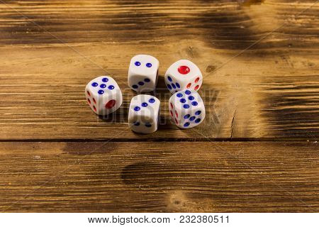 White Dice On Wooden Table. Game Of Chance Concept