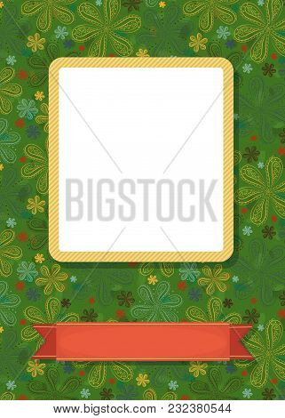 Graceful Greeting Card. Geometric Floral Pattern. Yellow Frame For Custom Photo. Red Banner For Cust