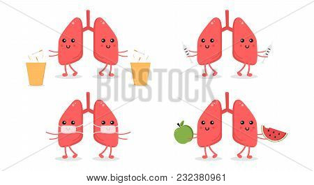 Set, Collection Of Cartoon Doodle Kidney Character, Nice And Smiling, Doing Different Things To Keep