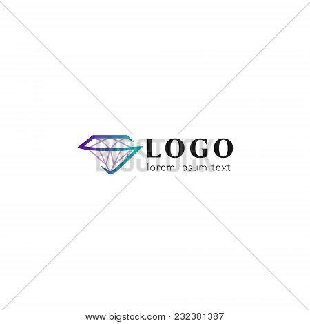 Trendy Flat Design Crystal Line Logo Element.  Geometric Icon