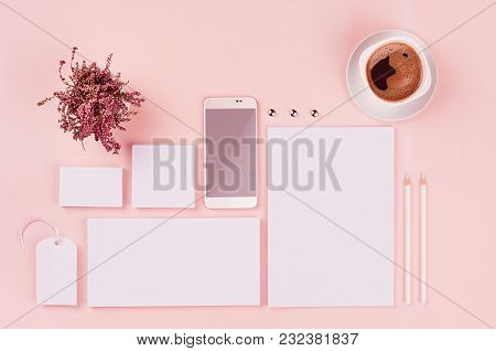 Corporate Identity Template, White Blank Stationery Set With Heather Flowers, Coffee, Phone On Soft