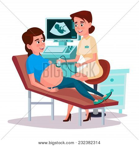 Vector Cartoon Ultrasound Pregnancy Screening Concept. Female Doctor, Woman In Medical Uniform Scann