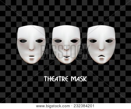 Theatrical Masks On A Checkered Background. Joy, Sadness, Indifference. Vector Masks.