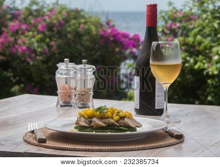 Fish Fillet Barramundi With Mango And White Wine On The Side