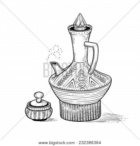 Ethiopian Vintage Coffeepot With A Hot Drink And Figured Pottery Folk Cup. National Coffee Ware. Vec