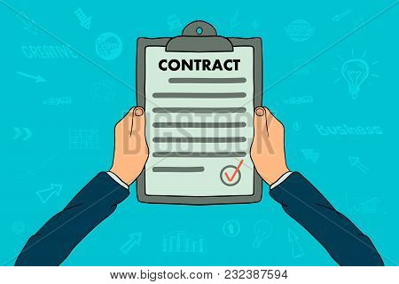 Hands Holding Clipboard With Contract Document In A Cartoon Design
