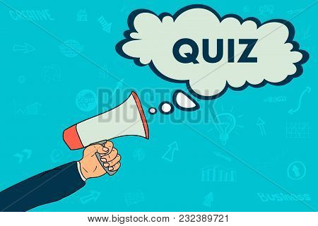 Quiz In Speack Bubble. Megaphone. Cartoon For Web Design