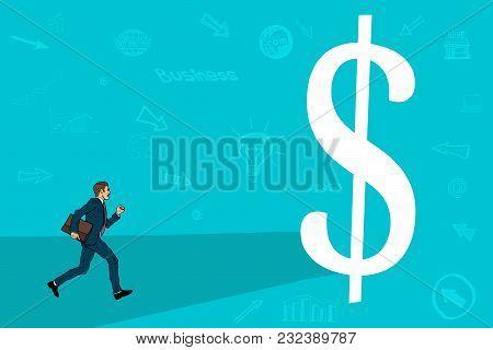 Businessman Runs To Meet The Big Dollar