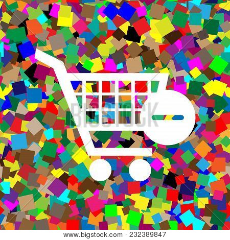 Shopping Cart With Remove Sign. Vector. White Icon On Colorful Background With Seamless Pattern From
