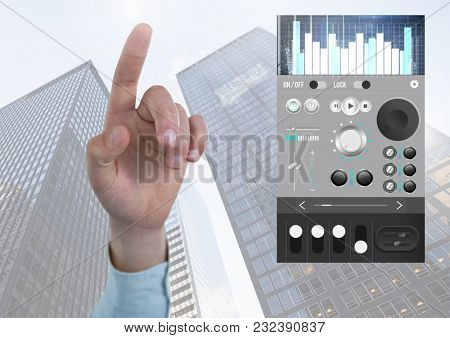 Digital composite of Hand pointing with Sound Music and Audio production engineering equalizer App Interface in city