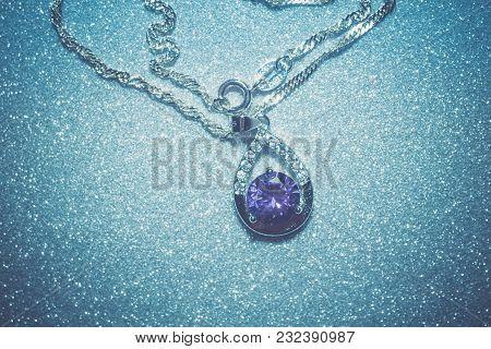 Silver Pendant With Purple Zircon Retro