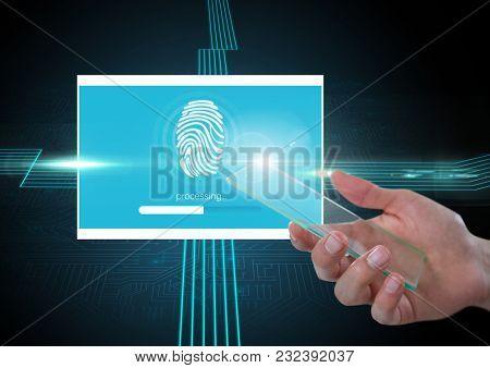 Digital composite of Hand holding glass screen and Identity Verify fingerprint App Interface