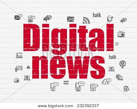 News Concept: Painted Red Text Digital News On White Brick Wall Background With  Hand Drawn News Ico