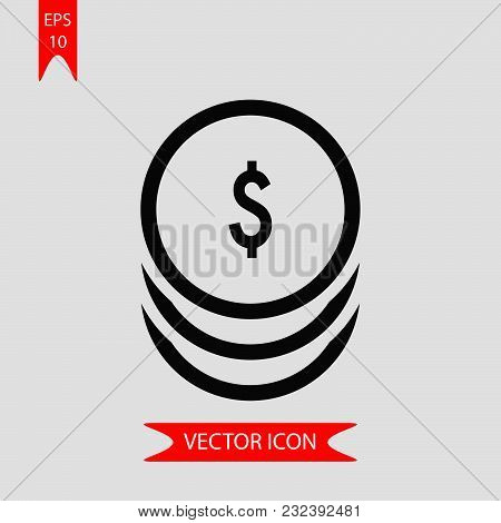 Dollar Coins Icon Vector In Modern Flat Style For Web, Graphic And Mobile Design. Dollar Coins Icon