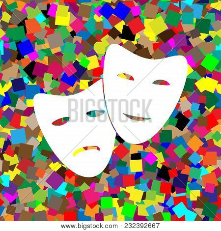 Theater Icon With Happy And Sad Masks. Vector. White Icon On Colorful Background With Seamless Patte