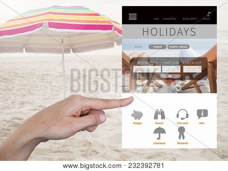 Digital composite of Hand Touching Holiday break App Interface on beach