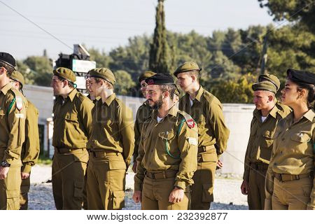 Latrun, Israel - March 13, 2018: The Soldiers Of Israel At The Ceremony In Latrun, Israel.