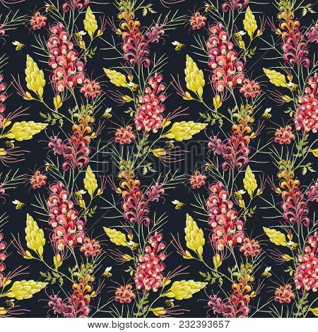 Beautiful Vector Seamless Pattern With Watercolor Australian Tropical Grevillea Flowers