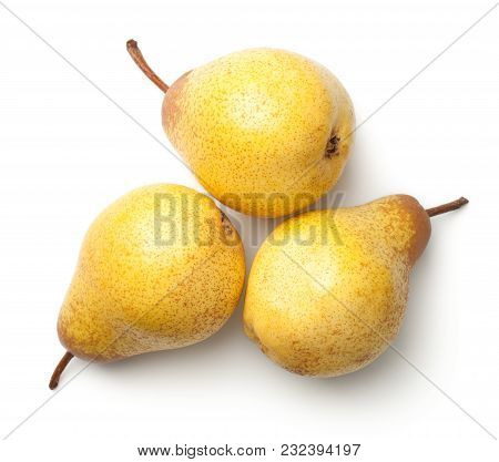 Pears Isolated On White Background. Rocha Pear. Top View