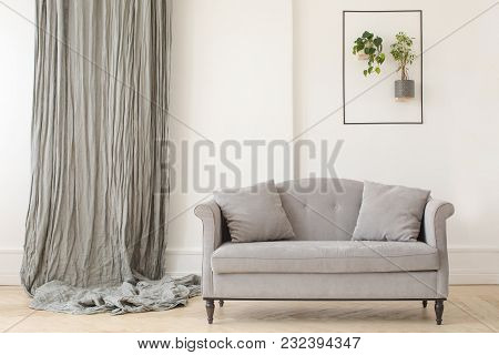 Elegant Gray Sofa With Curtain On Wall And Creative Green Decor In Light Room.